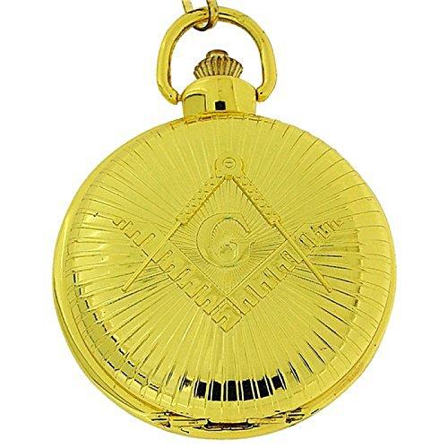 Boxx Gents Masonic Gold Tone Jumbo Size Pocket Watch on 12 Inch Chain Boxx270