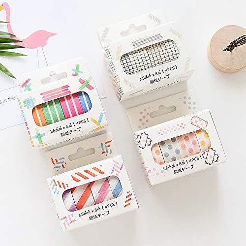 (Max Corner Line Twill Grid Dot Washi Tape Pack 4 Rolls Set, Masking Tape for Scrapbook, Multicolored Decorative Tapes Crafts Supplies (Grid Set))