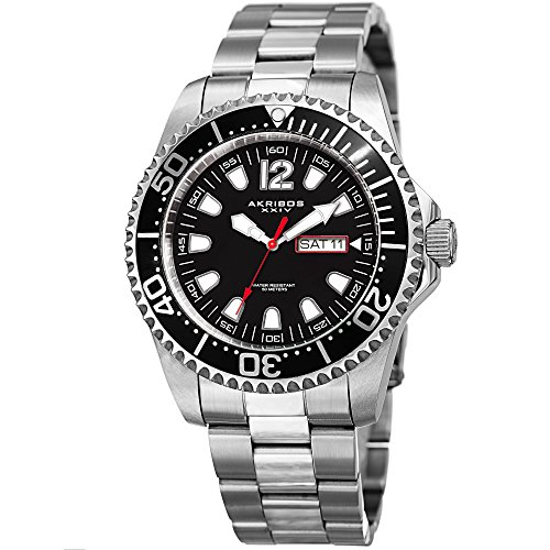 Akribos XXIV Men's Diver Watch - Two Tone Stainless Steel Link Wristwatch with Black Dial and Bezel - AK947SSB