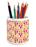 Lunarable Flip Flop Pencil Pen Holder, Hawaii Style Colorful Flip Flops Pattern of Polka Dots and Horizontal Stripes, Printed Ceramic Pencil Pen Holder for Desk Office Accessory, Multicolor