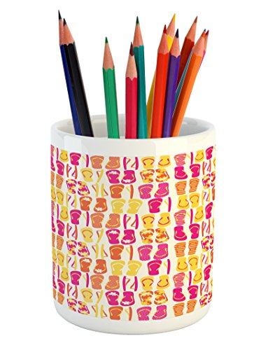 Lunarable Flip Flop Pencil Pen Holder, Hawaii Style Colorful Flip Flops Pattern of Polka Dots and Horizontal Stripes, Printed Ceramic Pencil Pen Holder for Desk Office Accessory, Multicolor by Lunarable