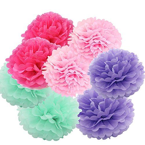 Daily Mall Art Craft Pom Poms Tissue Paper Flower 12pcs 6 inch 8 inch 10 inch Decorative Hanging Flower Balls DIY Paper Craft For Wedding Home Birthday Party Decorations (Style-2)