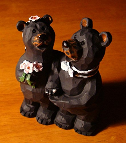 Black Bears Bride & Groom Wedding Figurine Cake Topper Lodge Log Cabin (Groom Glass Bears)