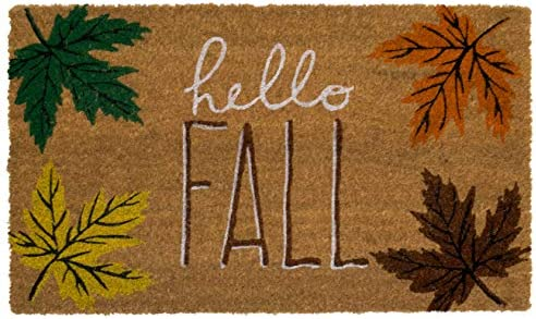 Briarwood Lane Hello Fall Coir Doormat Leaves Natural Fiber Outdoor 18 x 30