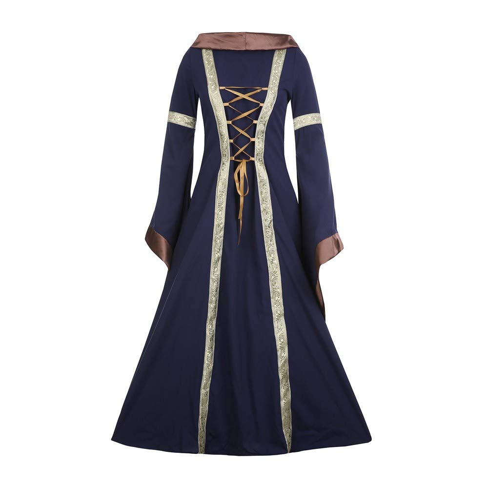 HLHN Women Maxi Dress Hooded Halloween Medieval Renaissace Gothic Lace Steampunk Vintage Cocktail Slim Gown Lace-Up Uniform