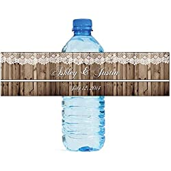 "Rustic Wood and Lace Wedding Water Bottle Labels Engagement Party 8""x2"" 100 Labels Per Order"