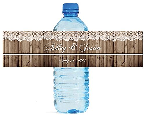 Rustic Wood and Lace Wedding Water Bottle Labels Engagement Party 8″x2″ 100 Labels Per Order