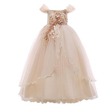 Amazon.com: Vestido largo de fiesta para niña, con hombros ...
