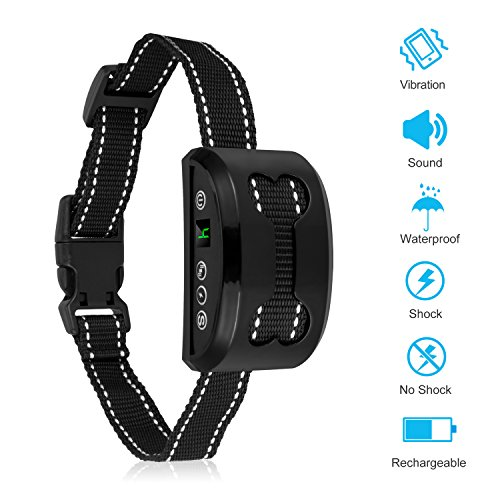 Bark Collar, Rechargeable Anti Dog Bark Collar 7 Adjustable Sensitivity Intensity Levels Harmless Bark Collars Small Medium Large Dog