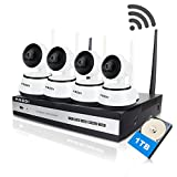 FREDI 4CH 720P HD wifi security camera system Wireless IP/ Network Security/Surveillance Camera System with 4 Channel 720P NVR(With 1TB Hard Drive)