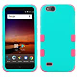 ZTE ZFive C LTE Z558VL Case - TUFF Series [Military Grade Drop Tested - MIL-STD 810G-516.6] Heavy Duty Shock Resistant Protective Case (Teal/Pink) and Atom Cloth for ZTE ZFive C LTE Z558VL