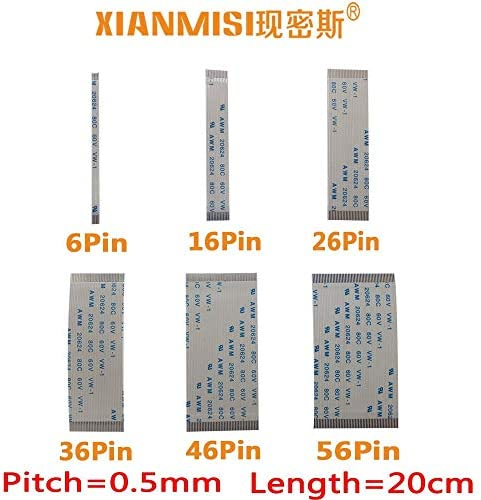 Generic FFC FPC Flat Flex Extension Cable 6Pin 16Pin 26Pin 36Pin 46Pin 56Pin Same Side 0.5mm Pitch AWM VW-1 20624 60V Length 20cm 5PCS