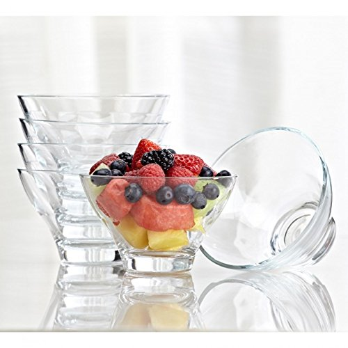 Pasabahce Ophelia Glass Nappy-Dessert Bowl - Set of 6 (Clear)
