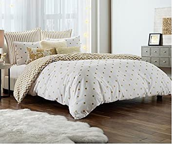 polka dots print gold glam twintwin xl comforter set