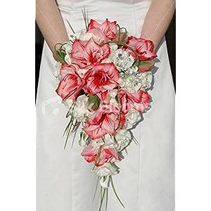 Vibrant White & Red Amaryllis Cascading Bridal Wedding Bouquet 14