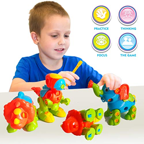 AUUGUU Take Apart Toys of Dinosaur, STEM Learning Play Set for Birthday Party, Christmas, Preschool, Educational Gifts for 2 3 4 5 Year Old Boys Girls Toddler (140 Pieces)
