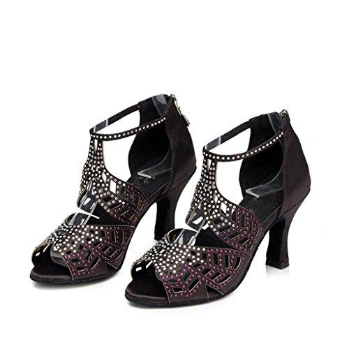Suave Negro Fondo Salón Classical Tacón Suede Latino B Tango De Wgwioo Strap Piel Sandals Alto Baile Mujeres Diamante Zapatos Ankle Salsa 6HvwPq