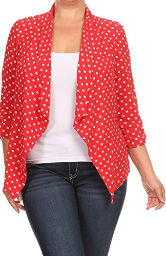 2LUV Plus Women's Open Front Gathered Sleeve Plus Size Blazer – X-Large, Red1