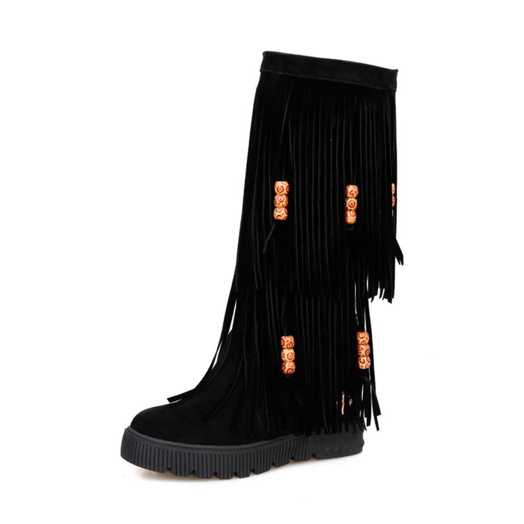 Black FAY WATERS Womens Tassel Fringe Short Boots Chunky High Heel Round Toe Mid Calf Wedge Booties