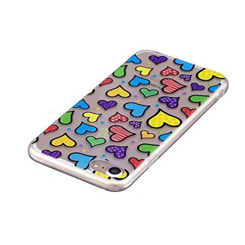 iPhone 7 Coque,couleur aime Premium Gel TPU Souple Silicone Transparent Clair Bumper Protection Housse Arrière Étui Pour Apple iPhone 7 + Deux cadeau