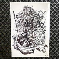 6 Hojas Guerrero Negro LeóN Tatuaje Temporal Pegatinas Impermeable ...