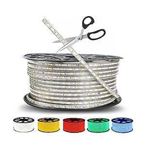 White, 20m : 220V IP67 Waterproof LED string light SMD 5050 + EU Power Plug LED Strip Light Led Tape 1-25M For outdoor Christmas lighting