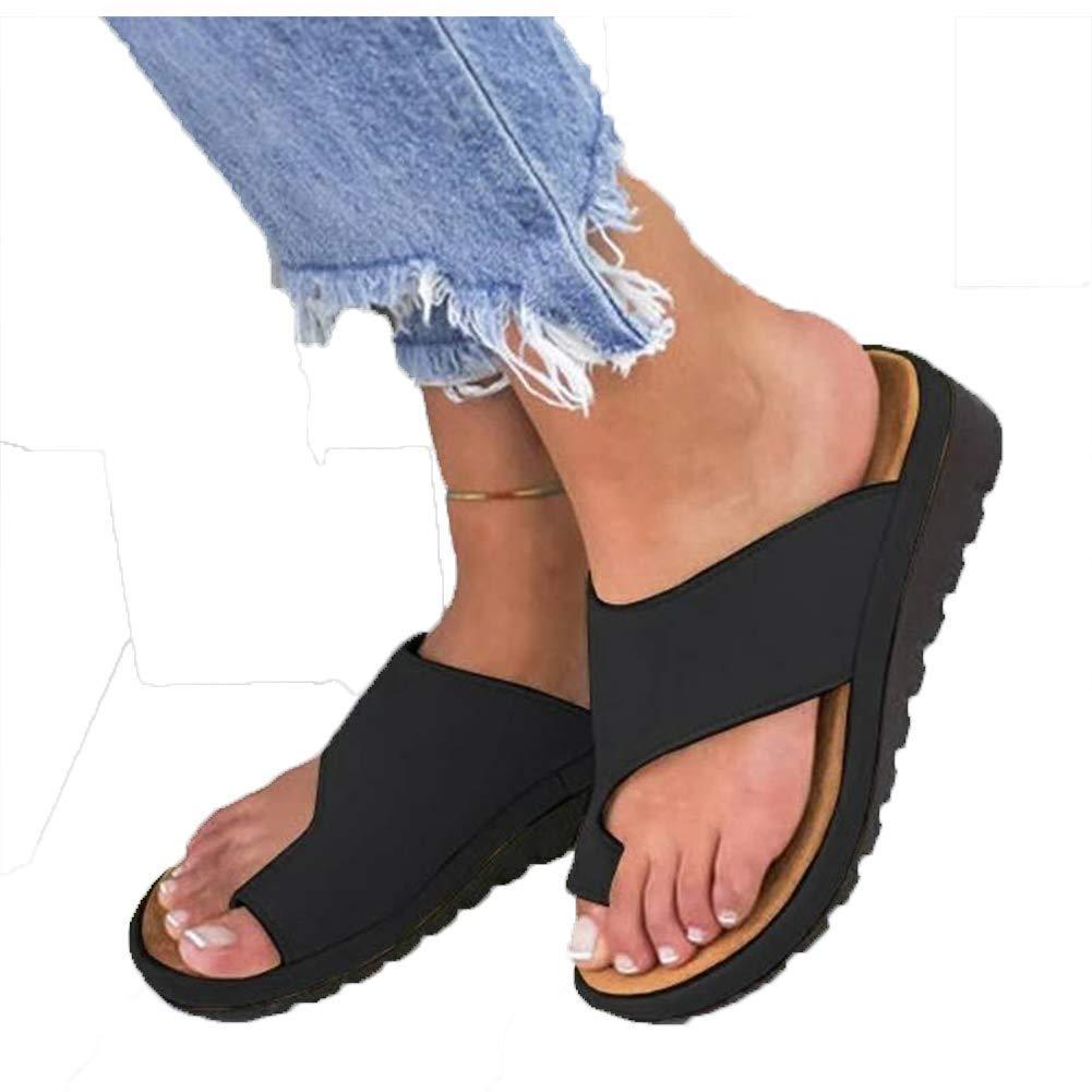 Women Water Shoes Comfy Platform Sandal Shoes Summer Beach Travel Shoes Women Sandals Outdoor Girl Sport Light Weight Shoes Comfortable Ladies Shoes (43 EU,Black)