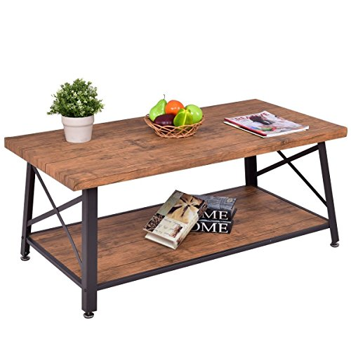 Premium Rustic Wooden Coffee Table Furniture with Storage for Any Home And Living Room by Goplus