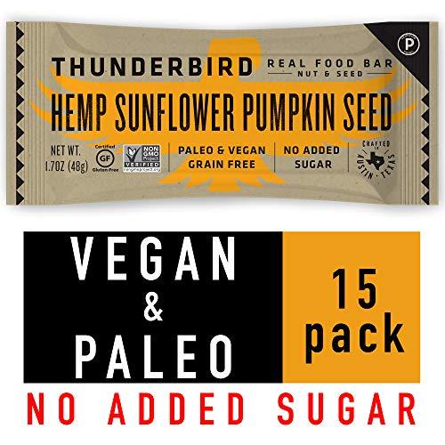 - Thunderbird Paleo and Vegan Snacks - Real Food Energy Bars - Hemp Sunflower Pumpkin Seed - Box of 15 - No Added Sugar, Grain and Gluten Free, Whole 30, Non-GMO