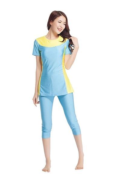 Amazon.com: Vestido para mujer musulmán Burkini 2 piezas ...