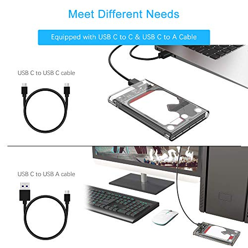 ELUTENG USB C SSD Enclosure 2.5inch, External Hard Drive Case Type-C to SATA with 2 USB 3.1 Cables Superspeed 5Gbps Compatible with WD/Seagate 7mm and 9.5mm HDD Support UASP Up to 2TB