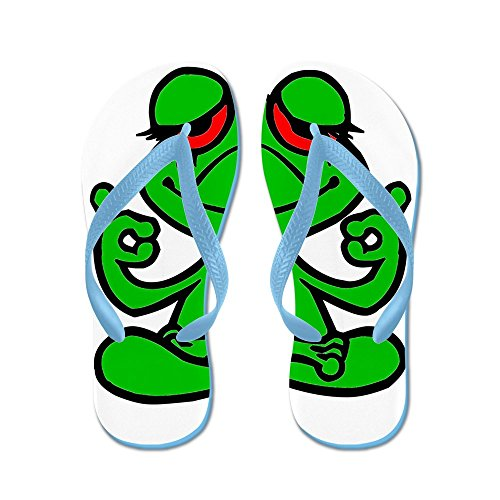 CafePress Frog Lotus - Flip Flops, Funny Thong Sandals, Beach Sandals Caribbean Blue