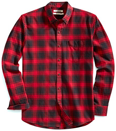 Goodthreads Men's Standard Fit Buffalo Plaid Oxford Shirt, Red Chili, (Red Plaid Oxford Shirt)