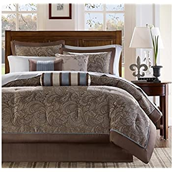 Image of 12 Piece Solid Print Paisley Design Comforter Set Cal King Size, Featuring Jacquard Fabric Durable Comfortable Bedding, Stylish Traditional Inspired Bedroom Decoration, Stripe Pillow, Brown, White