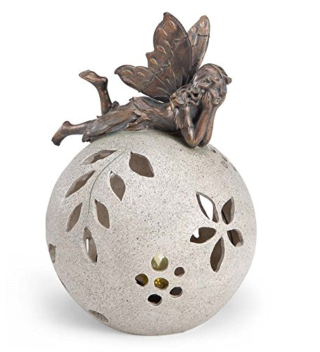Fairy Bronze Statue - Resin Fairy on Glowing Globe Garden Statue, Napping Fairy