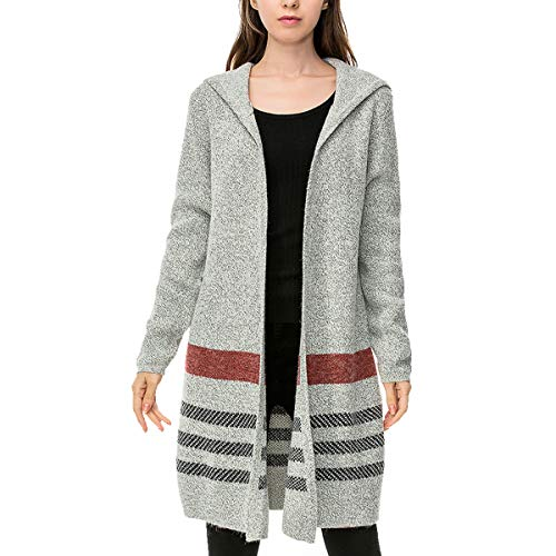 Ladies' Longs Casaul Open Front Striped Hooded Cardigan Sweater Coat (Small, Red)