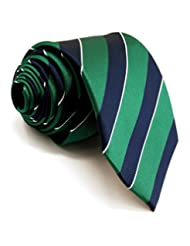 """Shlax&Wing Stripes Necktie Mens Tie Blue Green Classic Extra Long 63"""" New Design"""