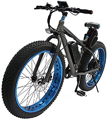 48V 500W 24 -Speed Transmission Electric Mountain Bicycle with Cell 48V 12AH Down Tube Style Li-ion Battery,26 inch Off Road Tire, Mechanical Disc Brakes , Aluminum Trailers, LED Display (Blue)
