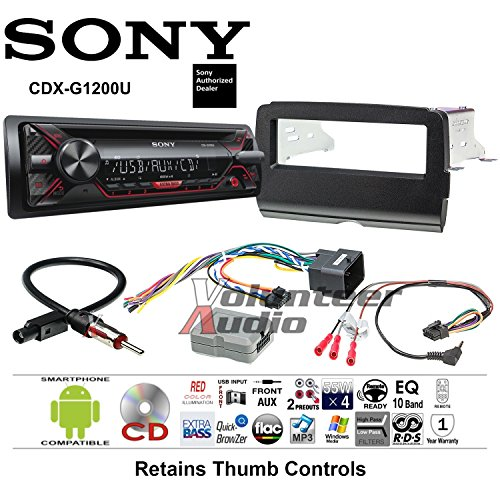 Volunteer Audio Sony CDX-G1200U Double Din Radio Motorcycle Install Kit with CD Player, USB/AUX Fits 2014-2016 Harley Davidson Electra Glide, Road Glide, Street Glide ()