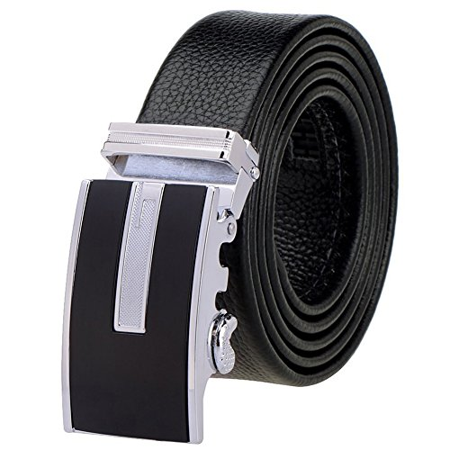 [Vbiger Fashion Men's Ratchet Belt Automatic Buckle Full Grain Leather 35mm Wide (Black Ⅺ)] (Full Metal Buckle)