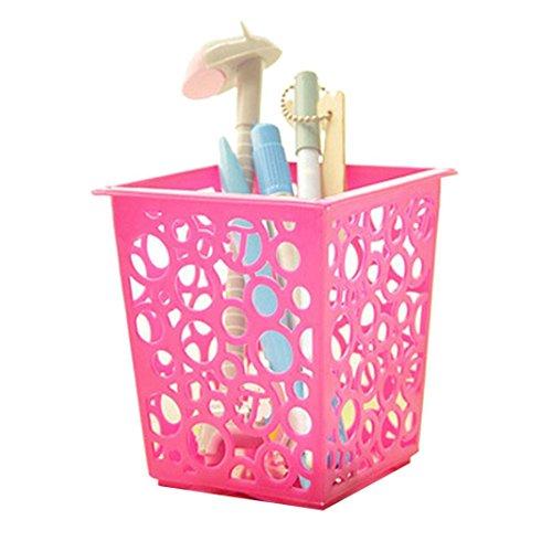 Oksale® Makeup Brush Vase Pencil Container Pot Pen Holder Stationery Storage Organizer (Hot Pink) - Rectangle Tube Beads