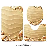3 Piece Bath Rug Set Nalahome design-74132347 sea shells with sand as background Bathroom Rug(15.7''x23.62'')/large Contour Mat(15.7''x15.7'')/Lid Cover(15.7''x16.9'')For Bathroom(white)