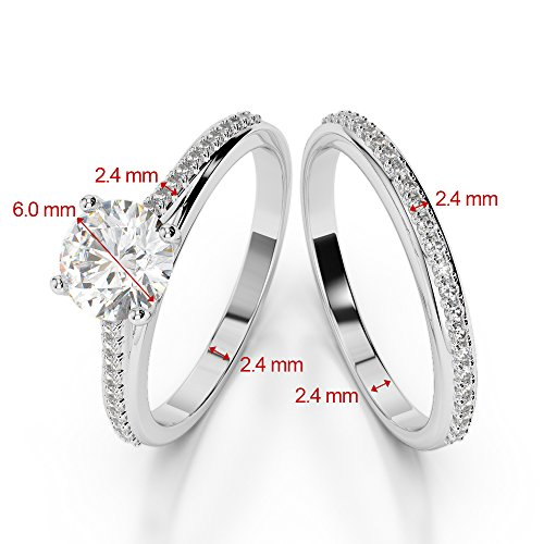 G-H/VS 1 CT Coupe ronde sertie de diamants Saphir et diamants blancs et bague de fiançailles en platine 950 Agdr-2061