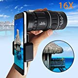 AutumnFall Monocular Telescope, 2017 New 16x52 Zoom Hiking Dual Focus Optical Lens Monocular Telescope 66M/8000M Phone Holder Pouch For Cellphone (Black)