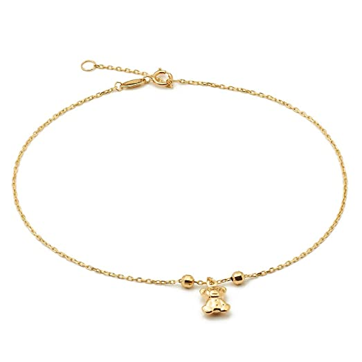 pin gold yellow heart anklet