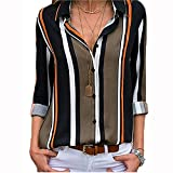 Womens Sexy Loose Shirt Top S-3XL,Long Sleeve Block Color Button Down Stripes Blouse Tees,Fashion Style for Ladies and Girl (Multicolor-3, XL)