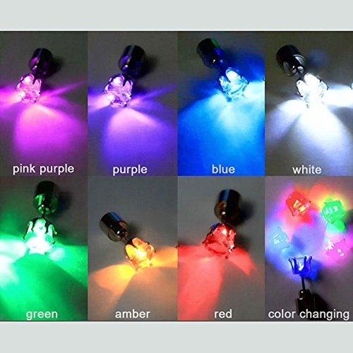 4-piece Pack Eliteshine Light Up LED Stud Party Earrings (Color changing)