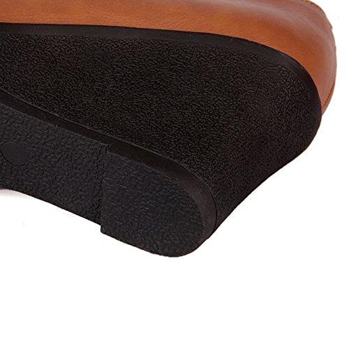 Amoonyfashion Donna Tondo Punta Rotonda Cunei Tallone Tacco Materiale Morbido Materiale Pompe Piene Con Fibbia Marrone