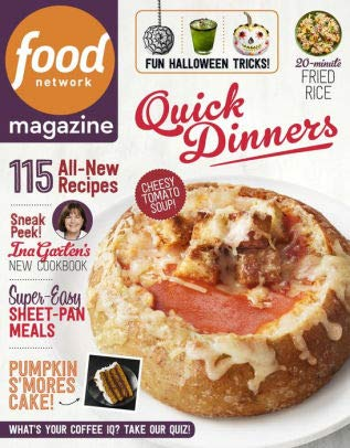 Food Network Magazine - October 2018 - 115 All New Recipes - Super Easy Sheet Pan Meals - Quick Dinners - 20 Minute Fried Rice - Fun Halloween Tricks for $<!--$4.75-->