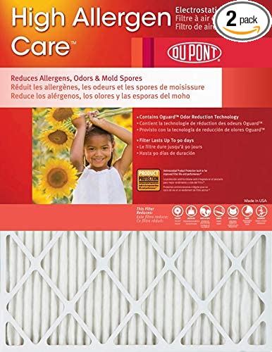 DuPont High Allergen Care Electrostatic Air Filter 2 Pack 24x30x1 23.5 x 29.5